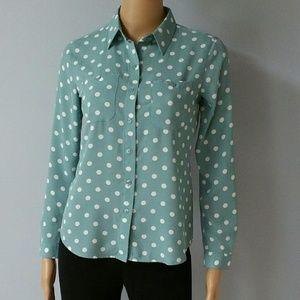 Ann Taylor Loft aqua polka-dot shirt. Size XSP
